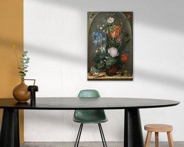 Stillleben mit Blumen und zwei Eidechsen, Roelant Saverij