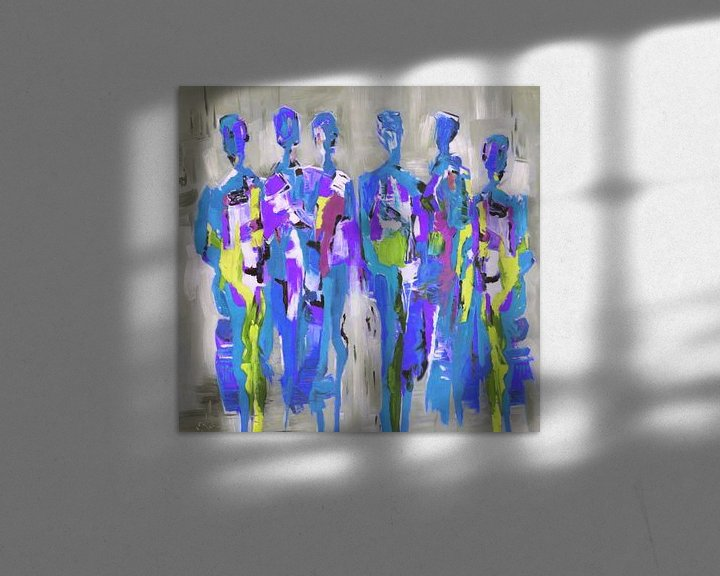 Sfeerimpressie: Blue People of Color   Blauw Schilderij met Figuren van Kunst Company