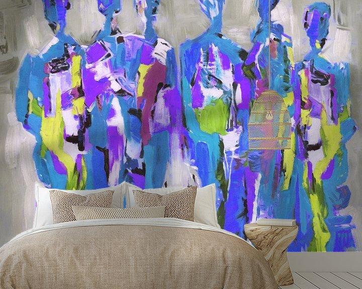Sfeerimpressie behang: Blue People of Color   Blauw Schilderij met Figuren van Kunst Company