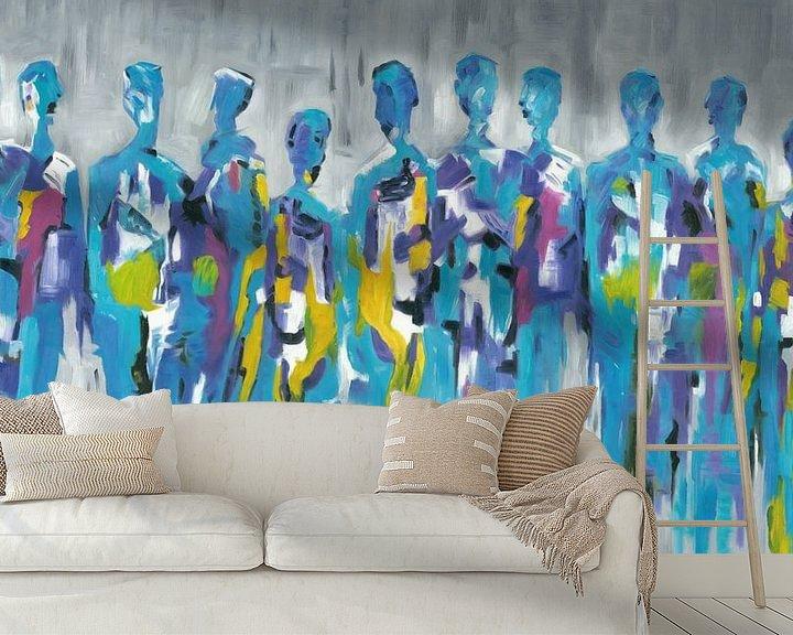 Sfeerimpressie behang: Blue Group of People   Blauw Figuratief Schilderij van Mensen van Kunst Company