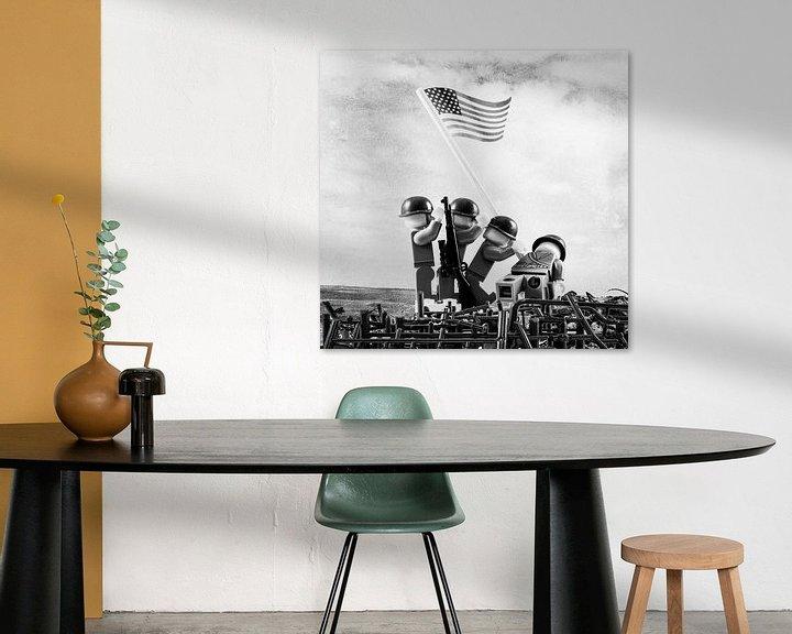Sfeerimpressie: Lego Iwo Jima plaatsen van vlag van Marco van den Arend