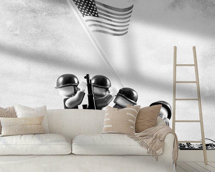 Sfeerimpressie behang: Lego Iwo Jima plaatsen van vlag van Marco van den Arend