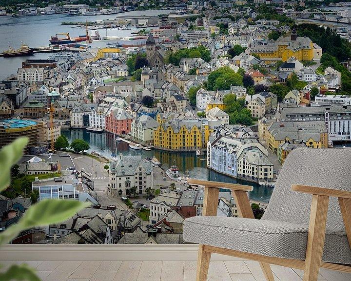 Sfeerimpressie behang: De kleurrijke Art Nouveau stad Ålesund van iPics Photography