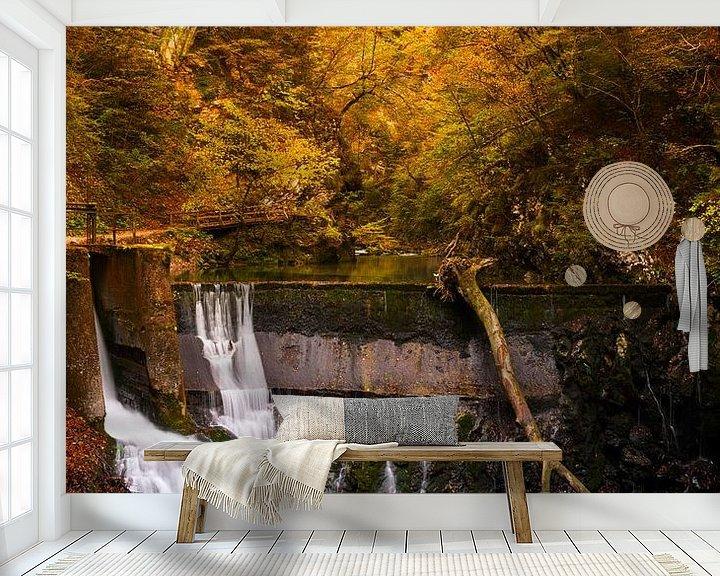 Sfeerimpressie behang: Waterval en een treinviaduct in een kloof in de herfst van iPics Photography
