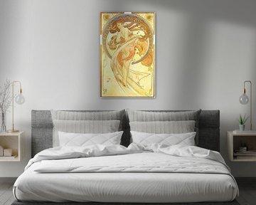 Kunst: Dans  - Art Nouveau Schilderij Mucha Jugendstil