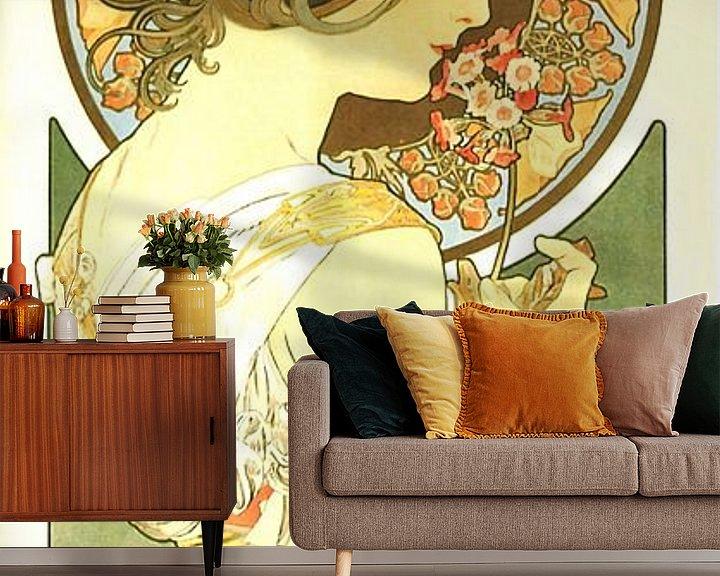 Sfeerimpressie behang: Stijlvol Schilderij Dame Lady Vrouw - Art Nouveau Schilderij Mucha Jugendstil