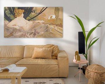 Dageraad Schilderij Liggende Dame Slapende Schoonheid I - Art Nouveau Schilderij Mucha Jugendstil