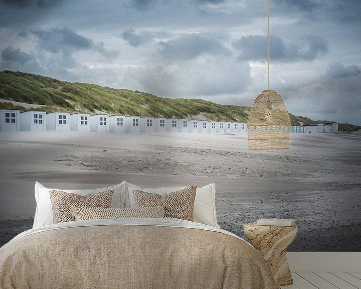 Sfeerimpressie behang: Strandhuisjes op strand Texel van LYSVIK PHOTOS