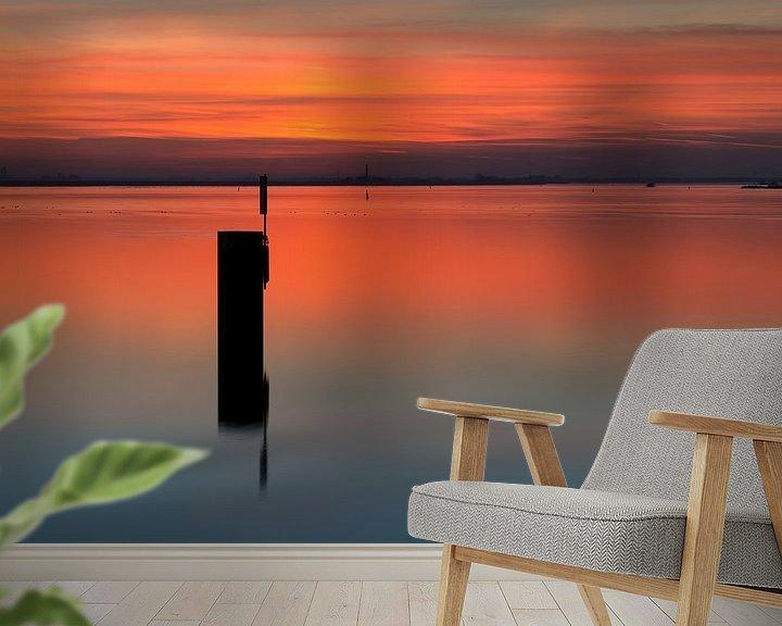 Sfeerimpressie behang: Net na zonsondergang van Hans Kerchman