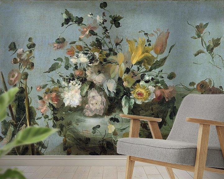 Sfeerimpressie behang: Stilleven met Bloemen, anoniem