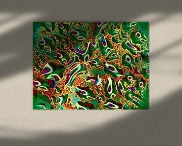 Upper-Glass in Green  (Groen kunstwerk met water) van Caroline Lichthart