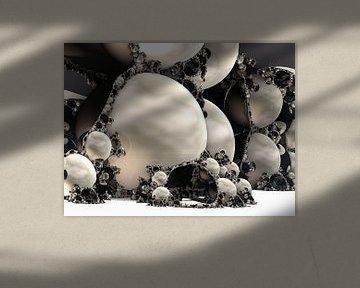 Fractal van marmer zwart van Linda T