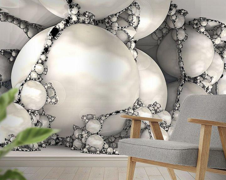 Sfeerimpressie behang: Fractal van marmer wit van Linda T