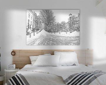 Zwart wit pencil tekening van Amsterdam in de sneeuw van Nisangha Masselink