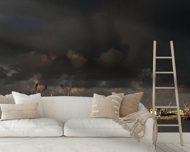 Beispiel fototapete: Donkere wolken boven Lauwersoog von Ron ter Burg
