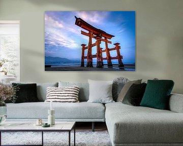 Sonnenuntergang in Miyajima (Torri) - Japan von Michael Bollen