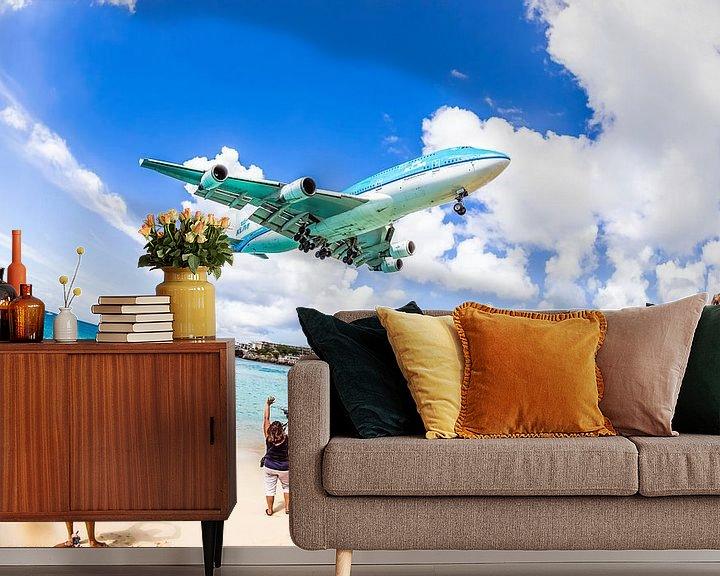 Sfeerimpressie behang: Laatste aankomst KLM 747 op Sint Maarten (SXM) van Dennis Janssen