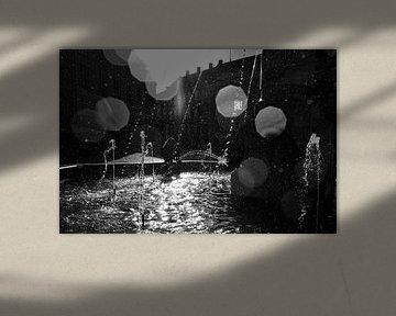 Kopenhagen  waterfontein waterdruppels  van Niels  de Vries