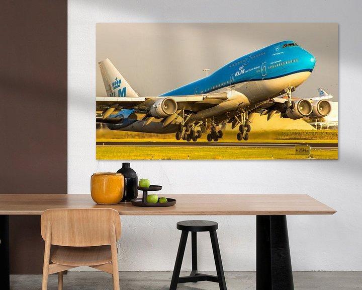 Sfeerimpressie: KLM Boeing 747 vertrekt geweldig zonlicht van Dennis Dieleman