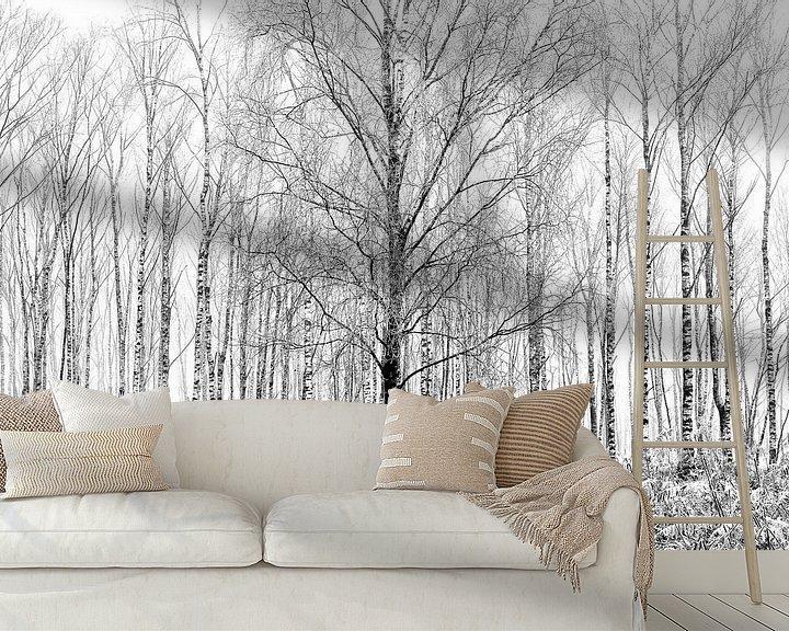 Sfeerimpressie behang: Berken in de mist van Remco Stunnenberg