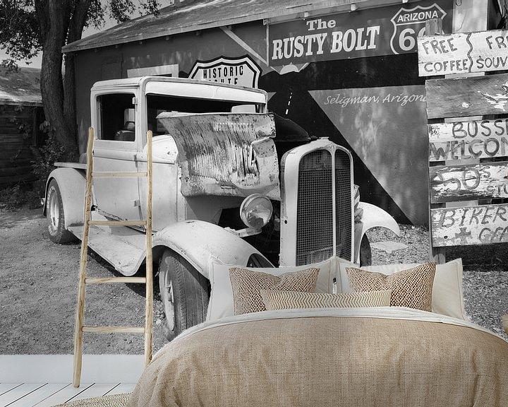 Beispiel fototapete: Oude auto langs de Route 66 von Loek van de Loo