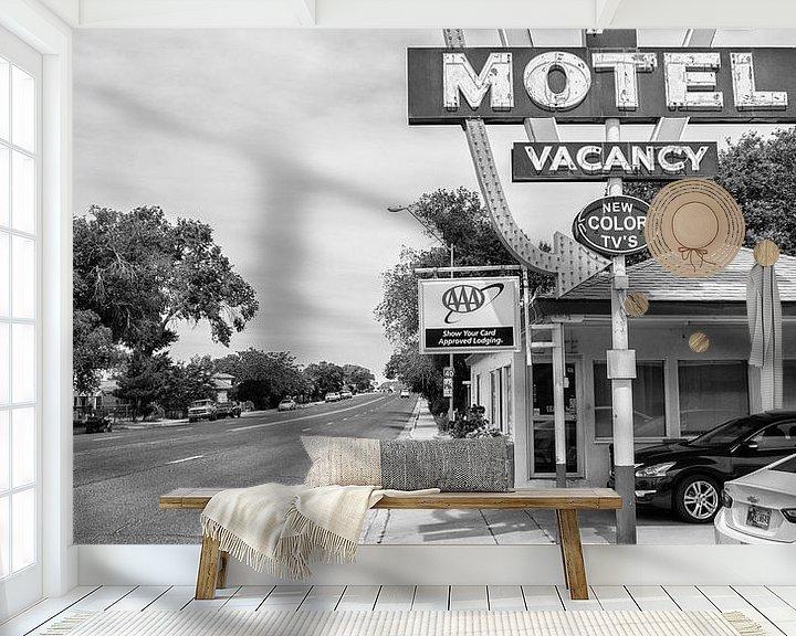 Sfeerimpressie behang: Supai Motel langs de Route 66 van Loek van de Loo