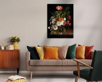 Stillleben mit Blumen mit einer Schnecke und einer Libelle, Isaac Denies