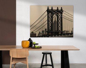 Manhattan Bridge und Empire State Building van Kurt Krause