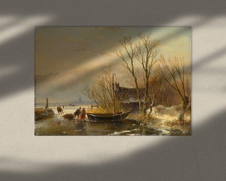 Beispiel: Winterszene auf dem Eis mit Holzsammlern, Andreas Schelfhout