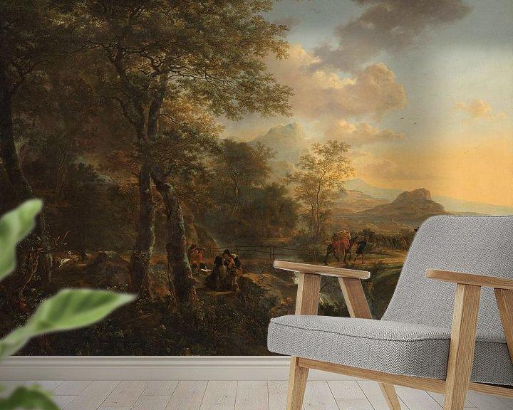 Beispiel fototapete: Italienische Landschaft mit einem Bauzeichner, Jan Both