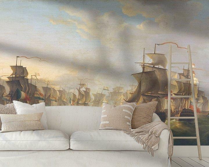 Sfeerimpressie behang: Het treffen tussen de Hollandse en de Britse vloot, Martinus Schouman