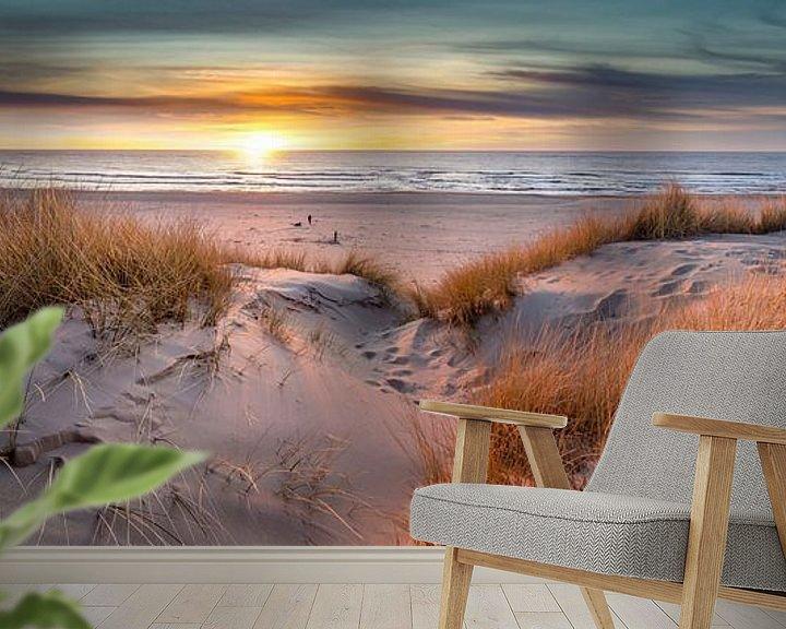 Beispiel fototapete: Pole 17 Texel Sonnenuntergang Panorama von Texel360Fotografie Richard Heerschap