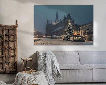 Haarlem: Kerstsfeer op de Grote Markt.