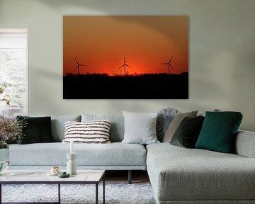 Windmolens Sunset van Johnny van der Leelie