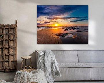 Zonsondergang Pier vuurtoren Texel van Texel360Fotografie Richard Heerschap