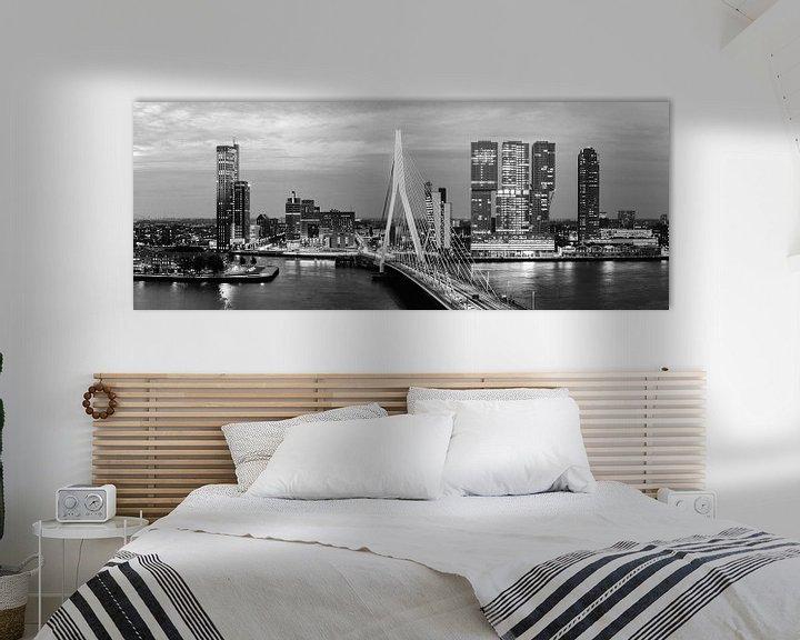 Sfeerimpressie: Rotterdam Erasmusbrug black and white van Midi010 Fotografie