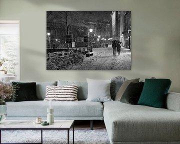 Romantisch koppel in de sneeuw in Utrecht von Jacco en Céline