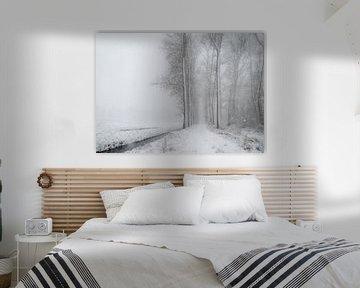 Sneeuwlandschap tijdens een sneeuwbui - de Scheeken van Wicher Bos