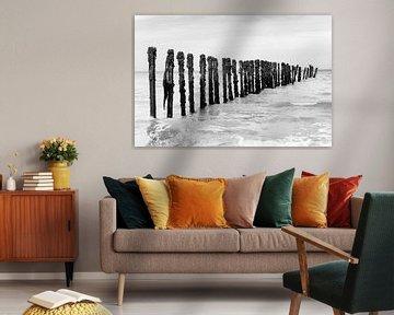 Wellenbrecher mit Kormoranen bei Omaha Beach (schwarz-weiß) von Evert Jan Luchies