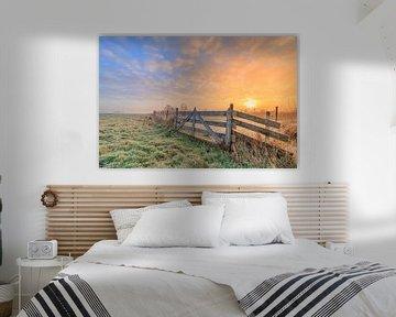 Niederländische Landschaft mit Sonnenaufgang von Lisa Antoinette Photography
