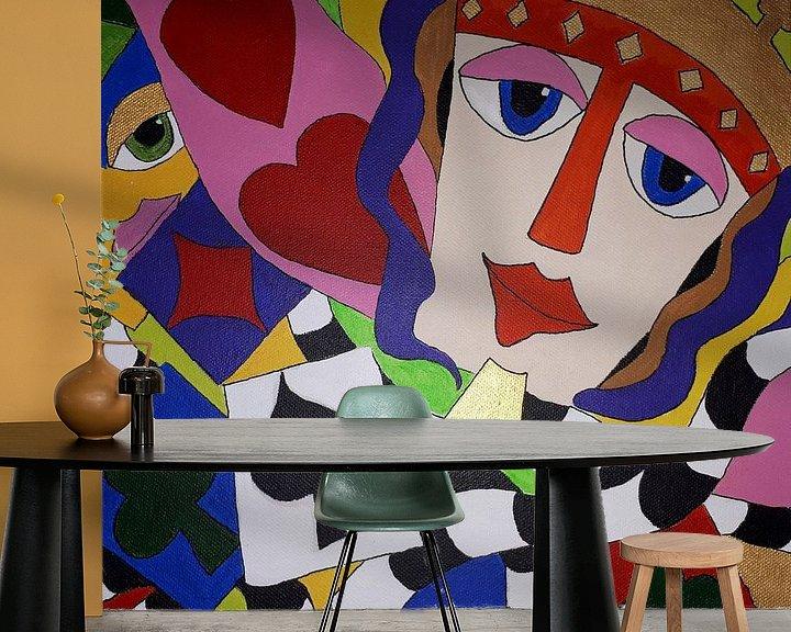 Sfeerimpressie behang: Game of Cards van Anja  Bulté