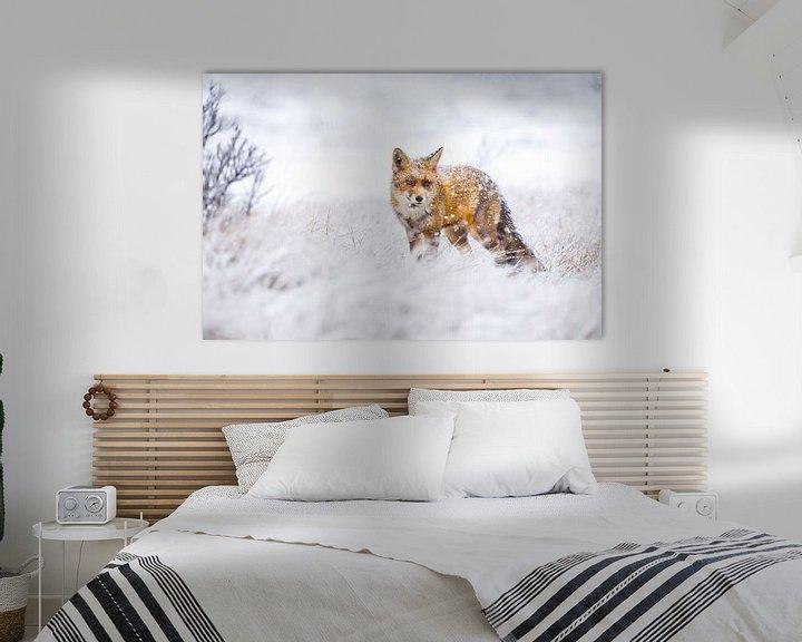 Sfeerimpressie: Vos tijdens een sneeuwstorm van Pim Leijen