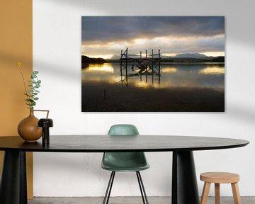 Jetty with Sunrise van Cornelis (Cees) Cornelissen