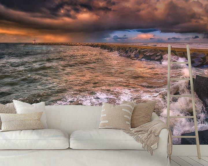 Sfeerimpressie behang: Brekende golven van Sander Poppe