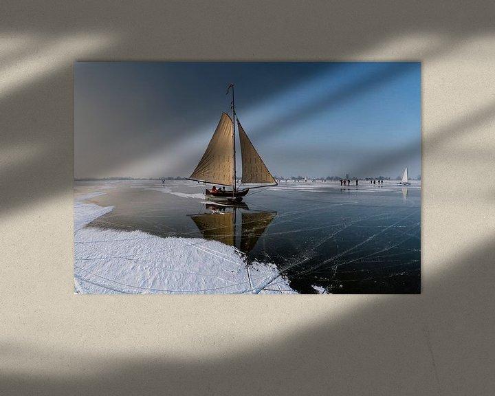 Sfeerimpressie: IJszeilen op de Gouwzee, Monnickendam,  Noord-Holland, van Rene van der Meer