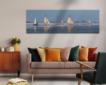 Eissegeln auf dem Gouwzee, Monnickendam, Nord-Holland sur Rene van der Meer