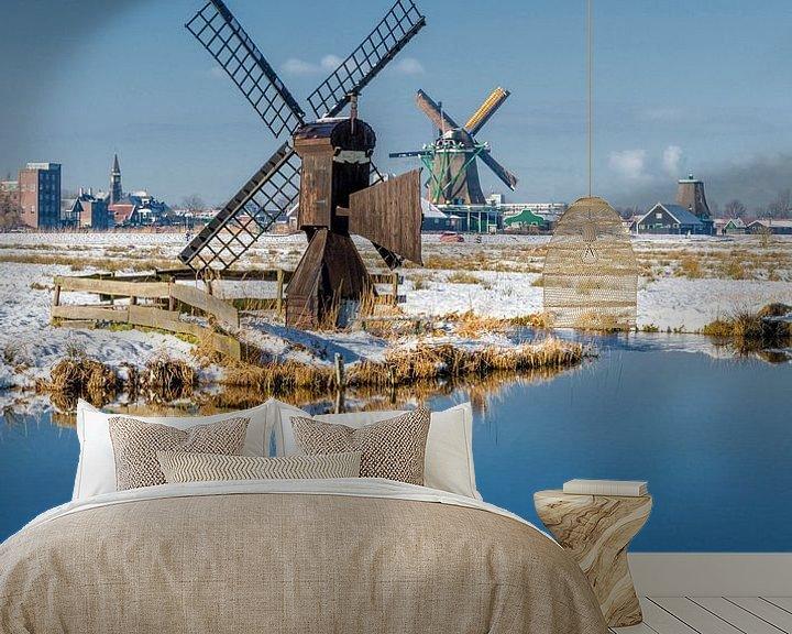Sfeerimpressie behang: De molens van de Kalverpolder, Zaandam,  Noord-Holland van Rene van der Meer