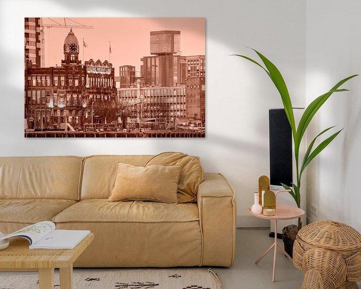 Sfeerimpressie: Hotel New York en de graansilo van Katendrecht - monochroom van Frans Blok