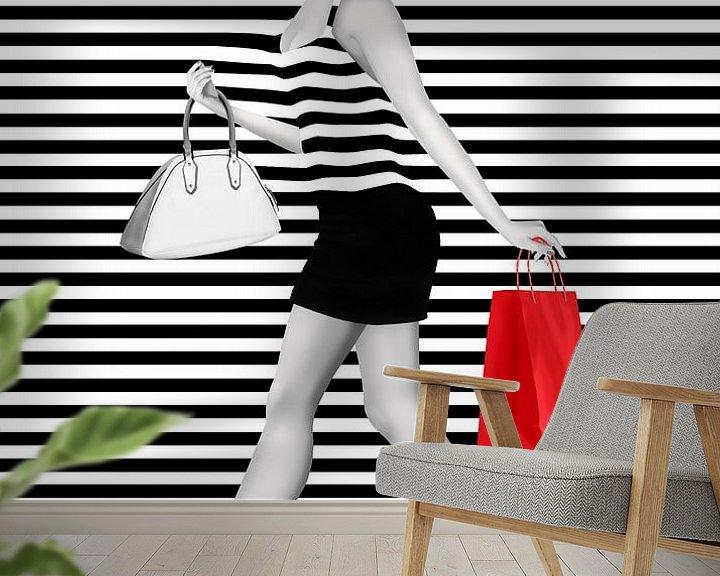 Sfeerimpressie behang: Gestreept is de mode van Monika Jüngling