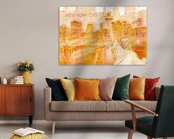 Graphic Art MANHATTAN Collage | gold von Melanie Viola